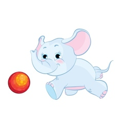 Little elephant playing with a ball vector