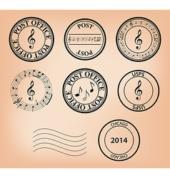 Set - music post stamps vector