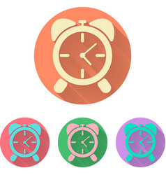 Set the alarm clock icon with shadow vector