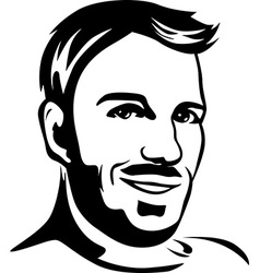 Portrait of young man - black outline vector