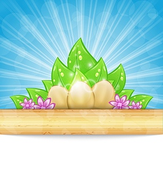 Easter background with eggs leaves flowers vector