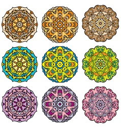 Set of 9 colorful round ornaments kaleidoscope flo vector