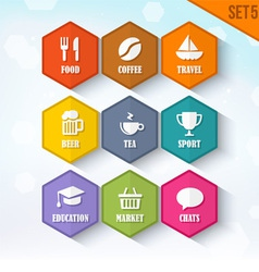 Trendy rounded hexagon icons set 5 vector