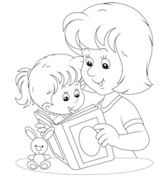 Mother and daughter reading vector