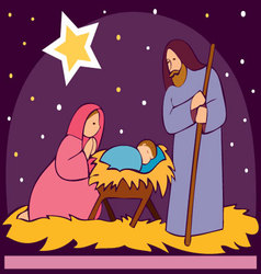 Baby jesus in a manger 2 vector