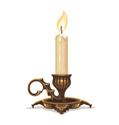 Burning candle in bronze vector