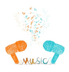I love music doodle art colorful vector