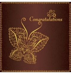 Congratulation vintage card with butterfly vector