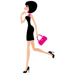 Woman in a black dress vector