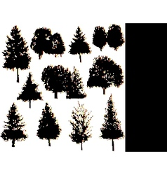 Tree silhouettes collection set vector