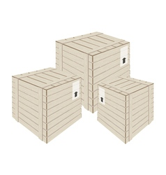 Three wooden cargo boxs on white background vector