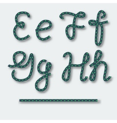 Letters e f g h - handwritten alphabet of rope vector