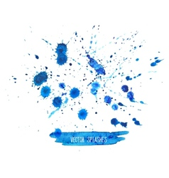 Watercolor splashes set isolated on white vector