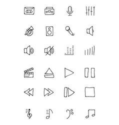 Music hand drawn doodle icons 1 vector