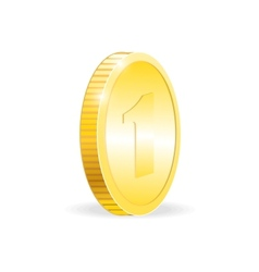 Gold coin isolated on white background vector