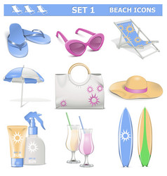 Beach icons set 1 vector