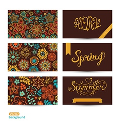 Set of three horizontal business cards summer vector
