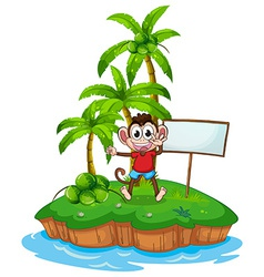 Monkey and island vector