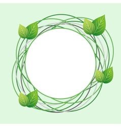 Decorative eco frame with circles and fresh leaf vector