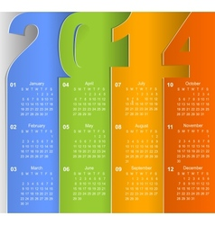 Clean 2014 business wall calendar vector