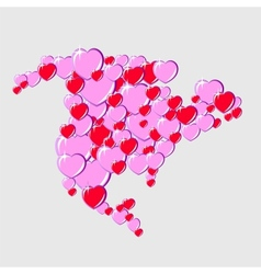 Bubble hearts map of north america vector