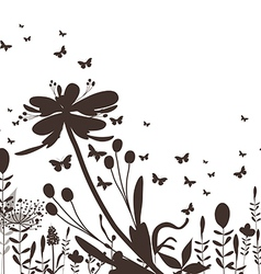 Floral silhouette and butterflies black vector