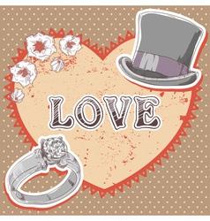 Valentine romantic retro card vector