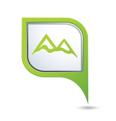 Mountain icon green map pointer vector
