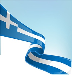 Greek flag on sky background vector