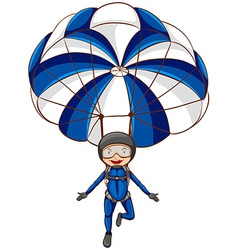 A sketch of a parachute with a boy vector