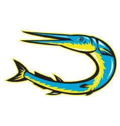 Needle fish jumping vector