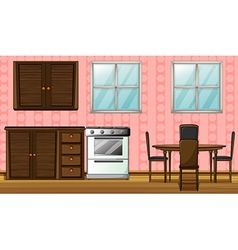 A wooden furniture and gas stove vector