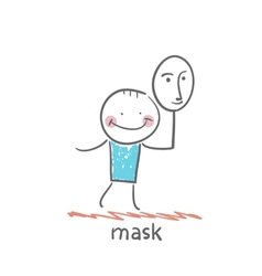 Man holding a mask vector