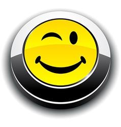 Smiley 3d round button vector