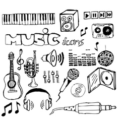 Music doodle icons vector