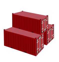 Three red cargo container on white background vector