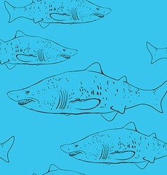 Sharks in the water black outline on the blue vector