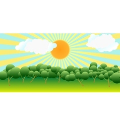 The sun over trees vector