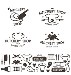 Set of labels templates and logo of butchery shop vector