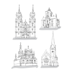 A set of sketches of churches vector