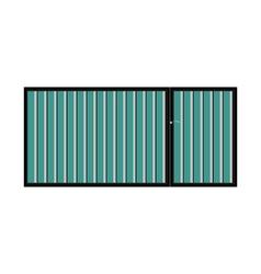 Iron gate with door vector