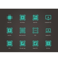 Central processing uunit icons set vector