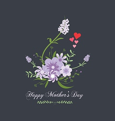 Happy mothers day with flower purple vector