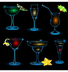 Neon cocktail icon set vector