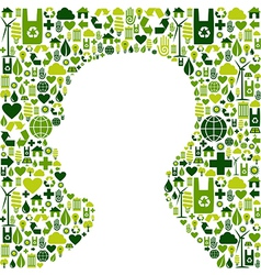Human head with green icons background vector