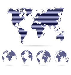 Set of strip world maps vector