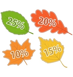 Autumnal leaves with discount values vector