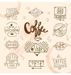 Vintage retro coffee labels vector