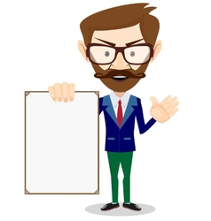 Businessman with blank poster vector