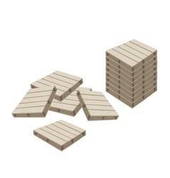 Group of wood pallets on white background vector